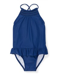 Ralph Lauren Smocked High Neck One Piece Swimsuit Size 12 24 Months Blue