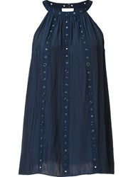 Ramy Brook Pleated Halter Neck Top Blue