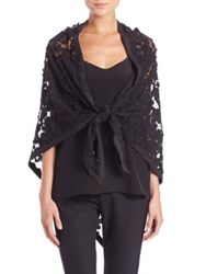 Harrison Morgan Embroidered Triangle Net Stole Black