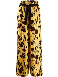 Alysi Floral Print Wide Leg Trousers Yellow
