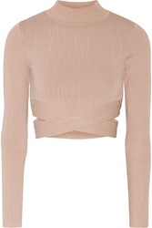 Jonathan Simkhai Cutout Textured Stretch Knit Turtleneck Top