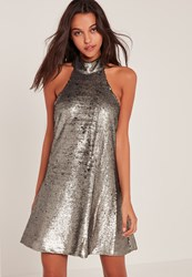 Missguided Silver High Neck Halter Sequin Swing Dress