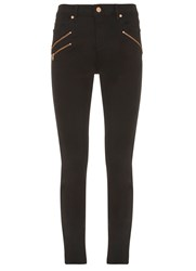 Mint Velvet Lakewood Black Triple Zip Skinny Jean Black