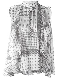 Iro Houndstooth Pattern Blouse White