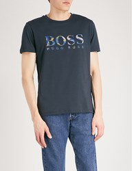 Boss Orange Logo Detail Cotton Jersey T Shirt Dark Blue