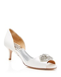 Badgley Mischka Open Toe Pumps Petrina Broach White