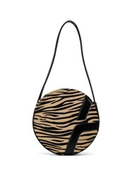 Manu Atelier Tiger Print Shoulder Bag Brown