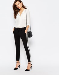 Sisley Tailored Trousers In Black With Stripe Black