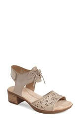 Women's Dansko 'Liz' Lace Up Block Heel Sandal Taupe Antiqued Leather