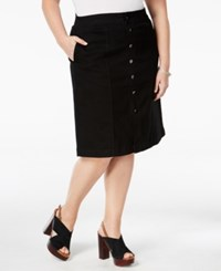 Charter Club Plus Size Tummy Control Denim A Line Skirt Only At Macy's Saturated Black