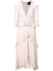 Nicole Miller Cold Shoulder Ruffle Dress Pink And Purple