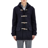 Tomas Maier Toggle Front Melton Hooded Coat Navy