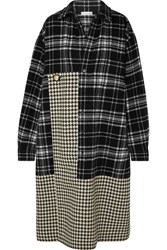 Balenciaga Oversized Paneled Houndstooth And Checked Wool Midi Dress Black