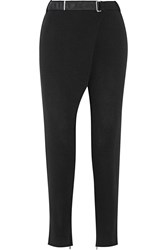 By Malene Birger Vengalia Wrap Effect Crepe Tapered Pants Black