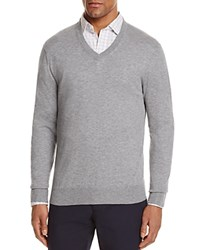 Bloomingdale's The Men's Store At V Neck Cotton Cashmere Sweater Medium Heather Grey