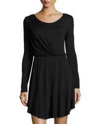 Nytt Long Sleeve Draped Jersey Dress Black