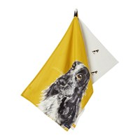 Joules Pawcasso Tea Towel Set Of 2 Gold Dog