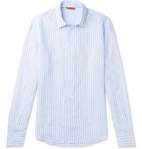 Barena Slim Fit Striped Slub Linen Shirt Blue