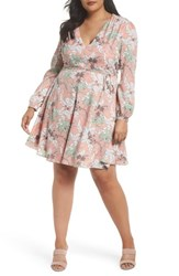 Glamorous Plus Size Women's Floral Print Tie Waist Dress Pink Olive Floral