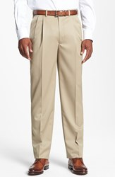 Men's Big And Tall Jb Britches Double Pleated Super 100S Worsted Wool Trousers Khaki