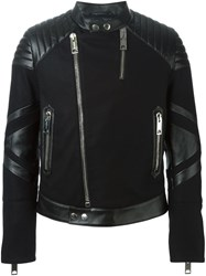 Les Hommes Paneled Band Collar Biker Jacket Black