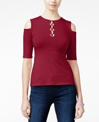 Guess Maja Cold Shoulder Lace Up Top Red