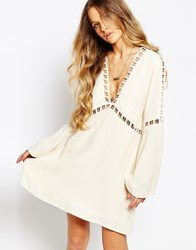 Kiss The Sky Tale From Afar Crochet Insert Smock Dress Cream