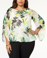 Alfani Plus Size Blouson Angel Sleeve Top Created For Macy's Leaf Layers
