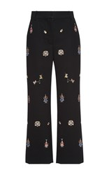 Vilshenko Alisa Embroidered High Waisted Ankle Pants Black Red Yellow