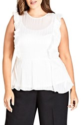City Chic Plus Size Simply Striped Ruffle Top Ivory