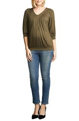 Maternal America Women's Ruched Dolman Top Olive