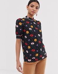 Fashion Union High Neck Blouse In Poppy Print Black