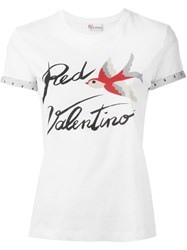 Red Valentino Bird Print T Shirt White
