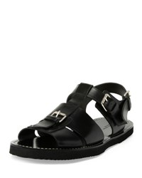 Dries Van Noten Leather Buckle Sandal Black