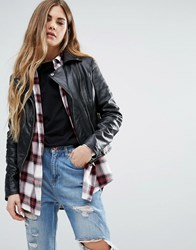 Barney's Faux Leather Biker Jacket Black