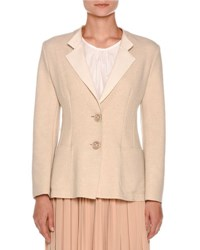 Agnona Couture Cashmere Two Button Jacket Oatmeal White Light Taupe