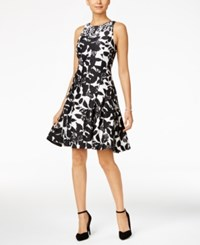 Ivanka Trump Embellished Graphic Print Fit And Flare Dress White Black