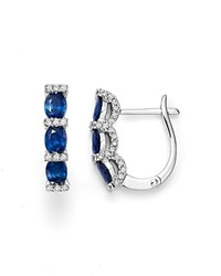 Bloomingdale's Sapphire Oval And Micro Pave Diamond Huggie Hoop Earrings In 14K White Gold Blue White