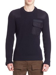 Moncler Ribbed Woolen Sweater Navy