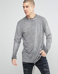 Asos Linen Look Longline Long Sleeve T Shirt With Oil Wash And Drawstring Hem Purple