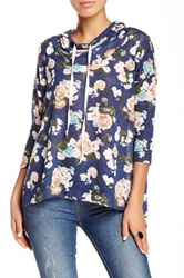 Hip Cowl Neck Hooded Floral Sweater Blue
