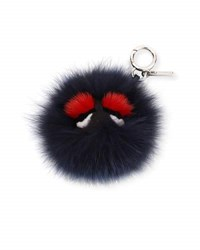Fendi Monster Mixed Fur Mini Charm For Handbag Black Bordeaux Bl