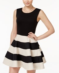 City Triangles Studios Juniors' Striped Fit And Flare Scuba Dress Black White