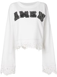 Amen Cropped Logo Jumper Nude And Neutrals