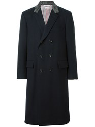 Thom Browne Contrasted Collar Double Breasted Coat