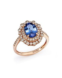 Bloomingdale's Tanzanite And Diamond Statement Ring In 14K Rose Gold Rose Blue