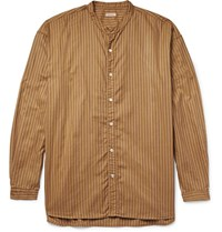 Kapital Grandad Collar Striped Cotton Oxford Shirt Gold