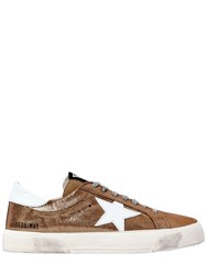 Golden Goose 20Mm May Metallic Leather Sneakers Gold