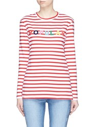 Etre Cecile 'Popular' Flocked Print Stripe Long Sleeve T Shirt Red Multi Colour