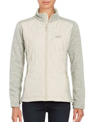 Jack Wolfskin Quilted Zip Front Jacket Light Sand